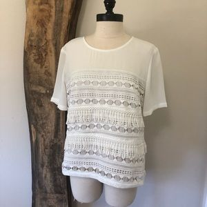 White Lace & Texture Top